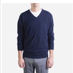 EVERLANE Unisex cashmere cotton navy sweater Med